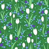 Vector seamless pattern, green summer meadow with flowers. Vector seamless pattern with green summer meadow. Blooming flowers, white tulips, blue pansies Royalty Free Stock Photography