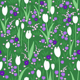 Vector seamless pattern, green summer meadow with flowers. Vector seamless pattern with green summer meadow. Blooming flowers, white tulips, violet pansies Royalty Free Stock Images