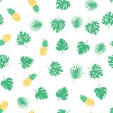 Vector seamless pattern with green tropical leaves and pineapples. Exotic background. Colorful cartoon summer illustration. Jungle print. Ideal for wrapping royalty free illustration