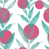 Vector seamless pattern of green tropical leaves with pink circles isolated on white background vector illustration