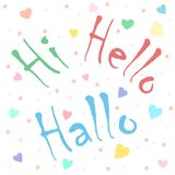 Welcome meeting and greeting. Hi. Hello. Hallo. Vector seamless pattern on a greeting theme.. Design of packaging, textiles, children`s magazine Stock Photography
