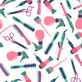 Vector seamless pattern of hairdresser and equipment Stock Photography