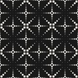 Vector seamless pattern with dotted crosses, flashes, fireworks. Vector seamless pattern, halftone dotted lines. Texture with small dots, crosses, flashes Stock Image