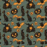 Vector seamless pattern with Halloween cute hand drawn elements vector illustration