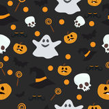 Vector seamless pattern for Halloween. Pumpkin, ghost, bat, candy, and other items on  theme. Bright cartoon Royalty Free Stock Images