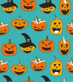 Vector seamless pattern with Halloween symbols. Royalty Free Stock Photography