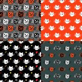 Vector seamless pattern with halloween vampire cats royalty free illustration