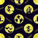 Vector seamless pattern for Halloween. Witch, ghost, bat, moon, Stock Photo