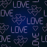 Vector seamless pattern Halogen Love. Glowing words love and hearts. Stock Images