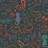 Vector seamless pattern with hand draw funny cats in sketch style Stock Photography