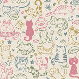 Vector seamless pattern with hand draw funny cats in sketch style Royalty Free Stock Photography