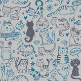 Vector seamless pattern with hand draw funny cats in sketch style Stock Images