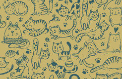 Vector seamless pattern with hand draw funny cats in sketch style Stock Photos