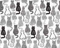 Vector seamless pattern with hand draw textured cats Stock Image