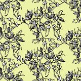 Vector seamless pattern with hand drawing black and white flowers and leaves Royalty Free Stock Photos