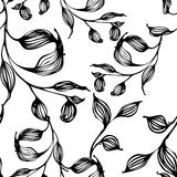 Vector seamless pattern with hand drawing black and white leaves Stock Images