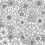 Vector seamless pattern of hand drawing floral doodle mandalas. Stock Photo