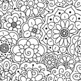Vector seamless pattern of hand drawing floral doodle mandalas. Stock Photography