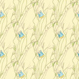 Vector seamless pattern with hand drawing leaves and flowers Royalty Free Stock Photo