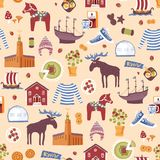Seamless pattern of hand drawn Swedish symbols Stock Images