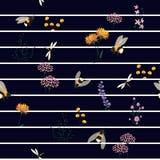 Vector Seamless Pattern Hand Drawn Artwork Isolated wild Flower stock illustration