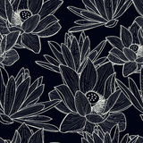 Vector seamless pattern with hand drawn beautiful lotus flower. stock illustration