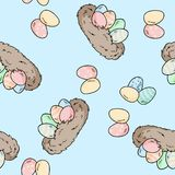 Vector seamless pattern with hand drawn bird nests with easter eggs. Comic style print stock illustration