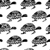 Vector seamless pattern with hand drawn black turtle  on Royalty Free Stock Images
