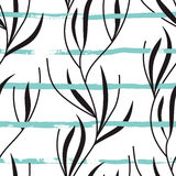 Vector seamless pattern with hand drawn blue stripes and plants Royalty Free Stock Photos
