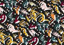 Vector seamless pattern with hand drawn brush strokes and stripes hand painted. Black, golden, white, pink, green, blue Stock Images