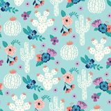 Vector seamless pattern with hand drawn cactus and floral bouquets on a blue background vector illustration