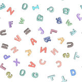 Vector seamless pattern of hand-drawn children`s alphabet. 3D doodle letters. ABC font background for kids. Vector seamless pattern of hand-drawn children`s Stock Illustration
