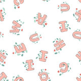 Vector seamless pattern of hand-drawn children`s alphabet decorated with flowers. 3D doodle letters. ABC font background. Illustration for kids stock illustration