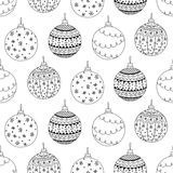 Vector seamless pattern of hand drawn Christmas ball toy Royalty Free Stock Photography