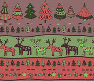 Vector seamless pattern with hand drawn christmas elements Royalty Free Stock Photo