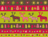 Vector seamless pattern with hand drawn christmas elements Royalty Free Stock Photography