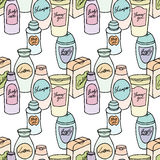Vector seamless pattern of hand drawn collection with different body and hair care products Stock Photography