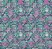 Vector seamless pattern with hand drawn color ornament maya Stock Photo