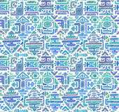Vector seamless pattern with hand drawn color ornament maya Royalty Free Stock Photo