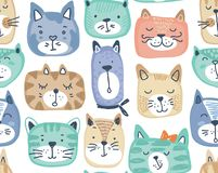 Vector seamless pattern with hand drawn colorful cat faces. stock illustration