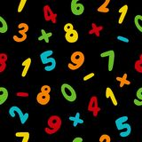 Vector seamless pattern with hand drawn colorful numbers. On black background. Doodle font Royalty Free Stock Image