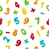 Vector seamless pattern with hand drawn colorful numbers. On white background. Doodle font Royalty Free Stock Photo