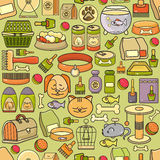 Vector seamless pattern of hand drawn colorful pet icon. Vector seamless pattern of hand drawn colorful pet icon on light  background. Flat design vector Stock Images