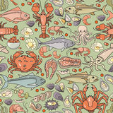Vector seamless pattern of hand drawn colorful seafood icon. Stock Image