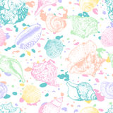 Vector seamless pattern with hand drawn colorful seashellsl. Multicolor abstract background with shells. Royalty Free Stock Photo