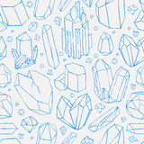 Vector seamless pattern. Hand drawn crystals Royalty Free Stock Images
