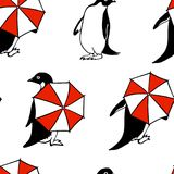 Hand drawn penguins pattern Royalty Free Stock Images