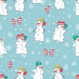 Vector seamless pattern with hand drawn cute snowmen. Beautiful Christmas design. Perfect for prints and patterns Stock Image
