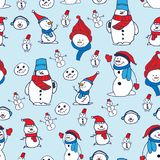 Vector seamless pattern with hand drawn cute snowmen. Beautiful Christmas design, perfect for prints and patterns. Vector seamless pattern with hand drawn cute Stock Image