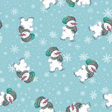 Vector seamless pattern with hand drawn cute snowmen. Beautiful Christmas design Stock Images